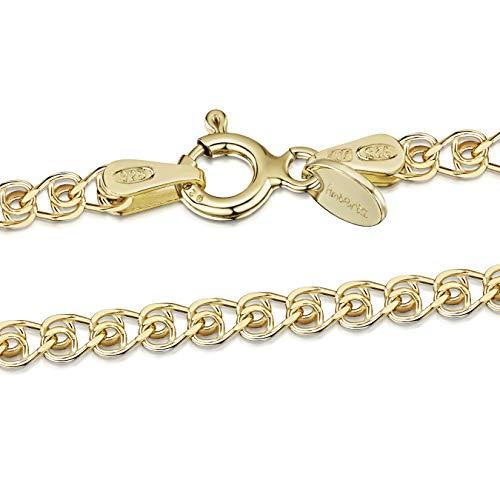 Amberta® Catenina Cuore Argento Sterling 925 per Bambini - Placcato Oro 18K - Larghezza 2.3 mm Lunghezza 36 cm