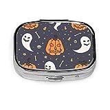 Set de Halloween con calabazas anaranjadas fantasmas calaveras personalizadas a la moda cuadrada plateada pastillero soporte para tableta medicina estuche organizador para bolsillo o bolso
