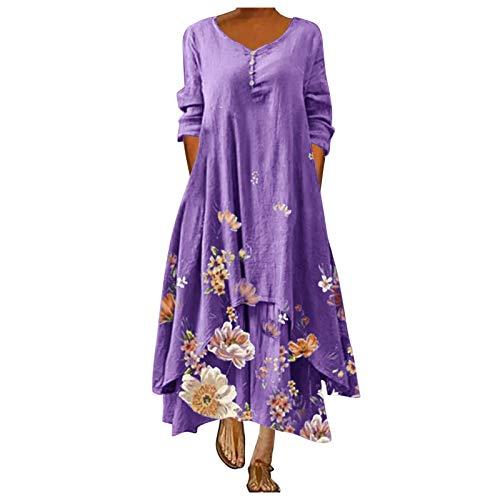 L9WEI Vestido Largo de Playa Floral Vestidos de Lino y Algodón para Mujer Vestidos Casuales Sueltos Vestido de Verano de Manga Larga para Mujer Vestido Elegante de Playa
