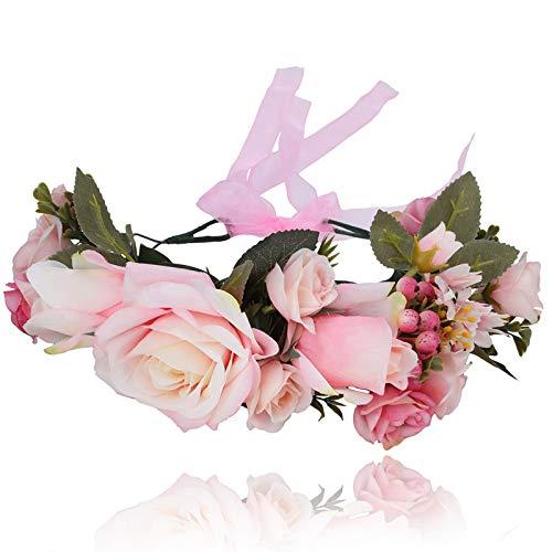 Couronne de fleurs Bandeau Coiffure de festival - Fait main Fleur Couronne de cheveux avec ruban Baie Bandeau de fleurs pour femmes et filles Robe (Rose)