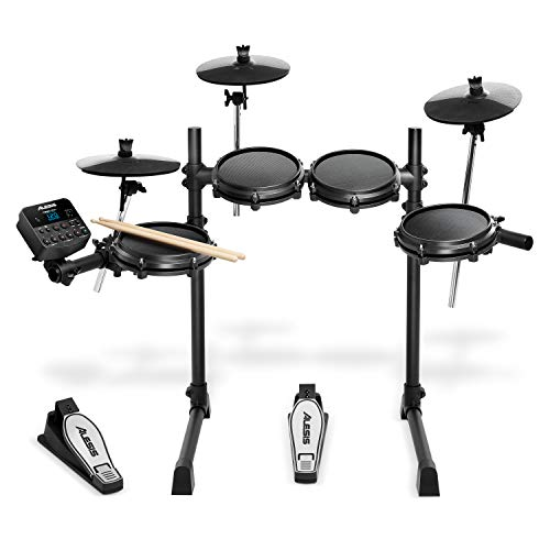 Alesis Drums Turbo Mesh Kit – Seven Piece Mesh Electric Drum Set With 100+ Sounds, 30 Play-Along Tracks, Drum Sticks & Connection Cables Included