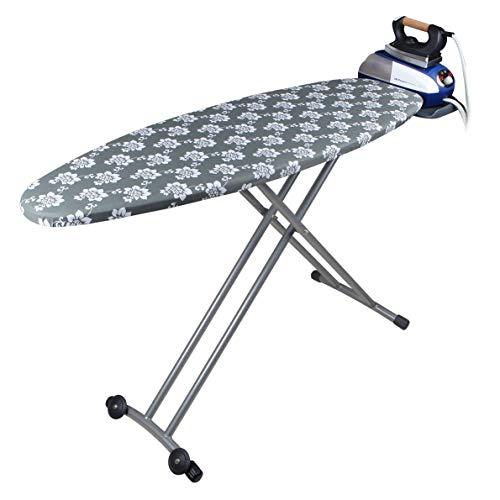 Orbegozo TP 6500 - Tabla de planchar plegable, altura regulable hasta 93 cm, funda 100% algodón, toma de corriente eléctrica, soporte para centros de planchado