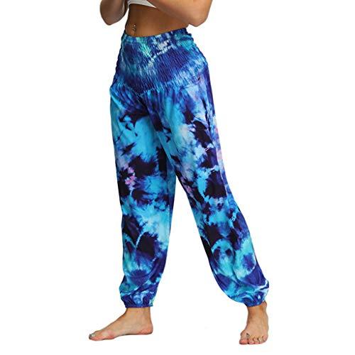 Lazzboy Yoga Hosen Baggy Hippie Boho Hose Hosenrock Haremshose Aladinhose Pumphose Pluderhosen Für Damen Männer Frauen Lässig Lose Aladdin(Blau,M)