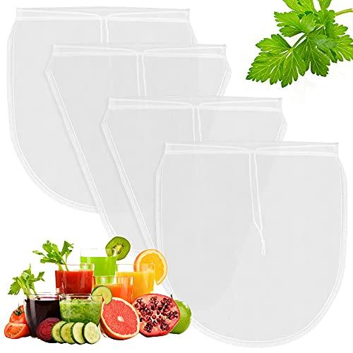 4 Piezas Bolsa Filtrantes,Colador Tela 27.5x30cm,Bolsa de Leche,Coladores de Cocina,Bolsa para Leche de Nuez,Tofu,Frutas Jugo