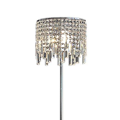 GX Stehlampe Europäische Luxuriöse Kristall Stehlampe, Wohnzimmer Schlafzimmer Studie Romantische Transparente Anhänger Nachttisch Eisen Körper Kristall Lampe Abdeckung Stehlampe Haus Dekoration A+