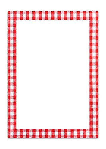 25 vellen briefpapier printpapier rood wit geruit eenzijdig bedrukt RAHMEN 100 g schrijfpapier motiefpapier DIN A4 briefblad Beieren Beierse designpapier