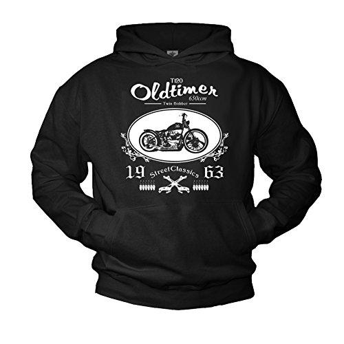 MAKAYA Chopper Kapuzenpulli für Herren schwarz Biker Logo Größe M