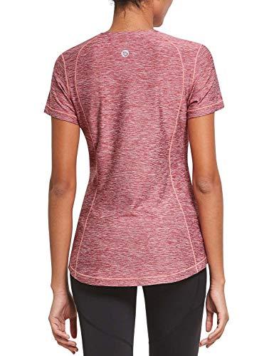 BALEAF Damen Athletic Shirt Workout Top Running Yoga Leichtes, schnell trocknendes, kurzärmeliges Rundhals-T-Shirt mit Rundhalsausschnitt Rot L