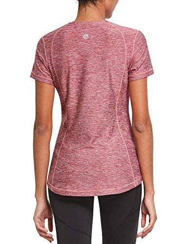 BALEAF Women's Athletic Shirt Workout Top Running Yoga Lightweight Quick Dry Short-Sleeved Crewneck Tee Red L