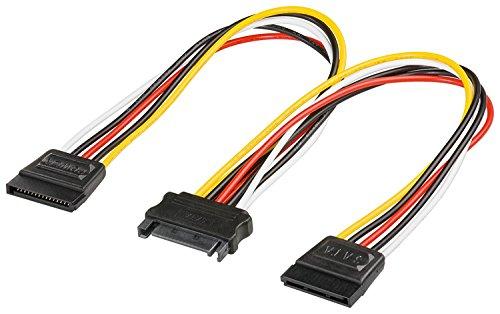 goobay Y-Stromkabel für SATA-HDD 20cm (2X Stecker / 1x Kupplung 15 Pin)