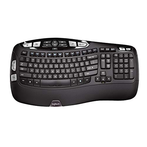 Logitech K350 Ergonomische Kabellose Tastatur, 2.4 GHz Verbindung via USB-Empfänger, 17 Programmierbare Multimedia-Tasten, 3-Jahre Batterielaufzeit, Handballenauflage, Skandinavisches QWERTY-Layout