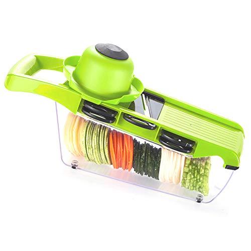 Alimagic Multiusos Cortador de Verduras 6 en 1 Cocina,con 6 Piezas de Cuchillas Acero Inoxidable,Cortador de Verduras,trituradora de Alimentos,picadora rallador,Cortador para(Verde)