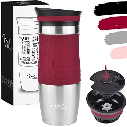 Milu Edelstahl Thermobecher to go - 370ml, 450ml - 100% Auslaufsicher - Trinkbecher - Autobecher doppelwand Isolierung - Isolierbecher Kaffeebecher Travel Mug (Rot, 370 ml)