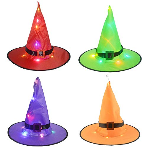 Sombreros de Bruja de Decoración de Halloween con Mini Luces LED Fiesta que Cambian Color, Sombreros Bruja Colgante Brillante Luces al Aire Libre Funcionado con Pilas-4 piezas-D_Con luz