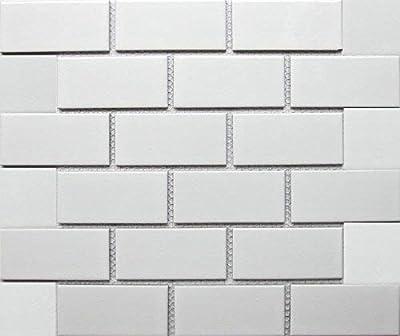 """White Tile Ceramic Subway Brick Gloss Finish 2"""" X 4"""" (Box of 10 Sqft), Wall Tile, Backsplash Tile, Bathroom Tile on 12x12 Mesh for Easy Installation"""