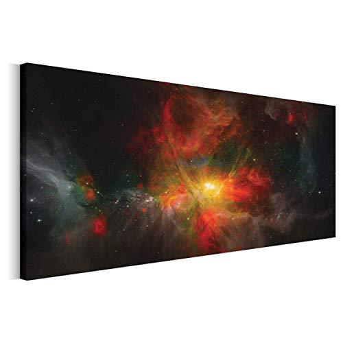 Revolio - Cuadro en Lienzo - Imágen Panorámica - Impresión artística - Decoracion de Pared - Tamaño: 150 x 50 cm - Cosmos Universo Negro