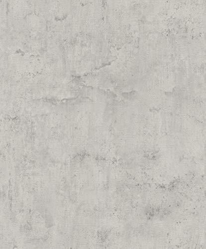 Rasch Tapeten Vliestapete (universell) Grau Silber 10,05 m x 0,53 m Tapetenwechsel 407341 Tapete, 10.05 0.53 m