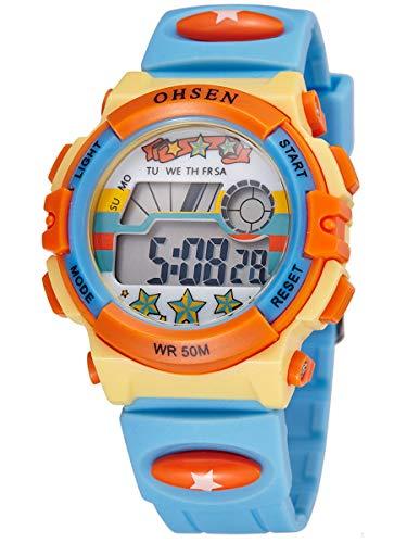 Alienwork Kinder-Uhr für Jungen Mädchen gelb mit Kautschuk-Armband hellblau Kalender Weiss Chronograph Sportlich
