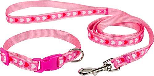 Puccybell HLS010 Nylon hartjes hondenhalsband en hondenriem (1,2 m) in set, hartdesign, voor kleine en middelgrote honden en puppy's, Größe S/M: 25-39cm, roze-roze.