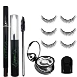 Magic Eyelashes Kit - Liquid Black Eyeliner - 3 Pairs Thin long False Lashes with Mirror Case, Mascara, Eye Curler, Brush - No Glue Non-Magnetic Fake Eyelashes Set, Reusable Weatherproof