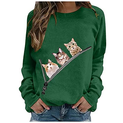 Lalaluka Sweatshirt Damen Pullover Elegant Katze Drucken Loose Frauen Langarmshirt Oberteile Hoodie Langarm T Shirt Bluse Tshirt Tunika Top