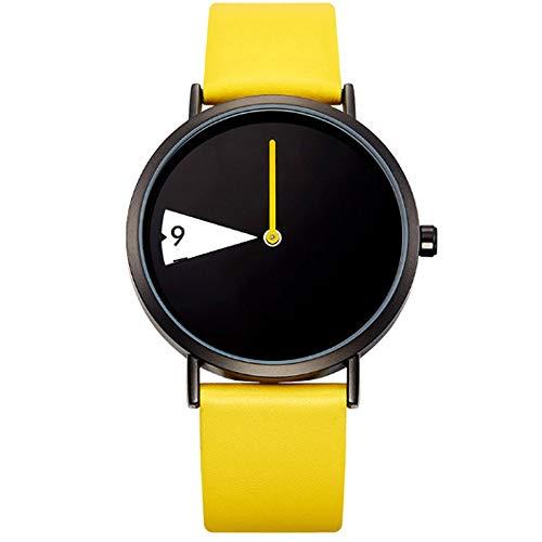 REIUYTHO Creativa relojes, relojes de moda, Dial giratorio impermeable reloj de cuarzo, unisex, Estilo Moderno, correa de cuero, adecuados for los jóvenes, los estudiantes, los modernos, deportes al a