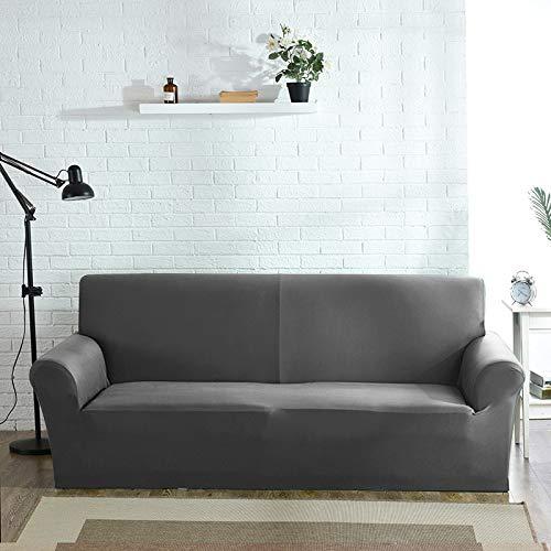 OKJK Elastischer Sofabezug, Für Wohnzimmer Sofa Protector, Sofaüberwurf Möbel Sessel Modern,Stretch Couch überzug Baumwolle (Grey,2seater 145-185cm)