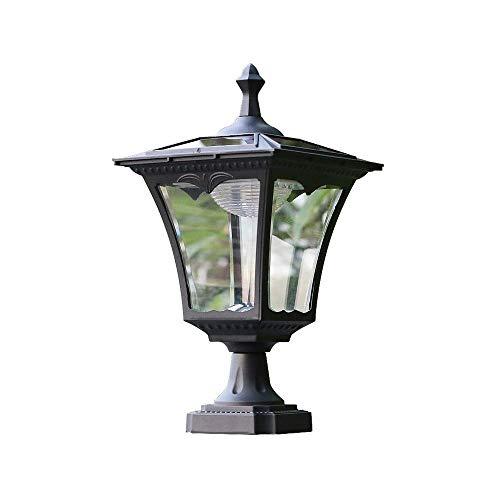 SYyshyin Luz de pilar solar europea Puerta de jardín impermeable Luz de jardín al aire libre LED Super brillante Luz de pared para villa al aire libre Poste Porche Patio Calle Linterna Luz de mesa Lám