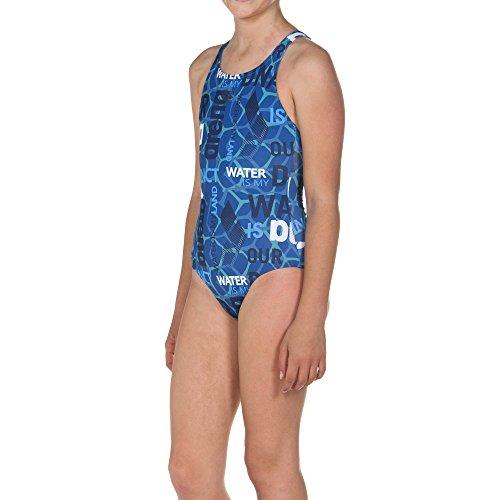 arena Mädchen Sport Badeanzug Evolution (Schnelltrocknend, UV-Schutz UPF 50+, Chlorresistent), Pix Blue-Navy (817), 140