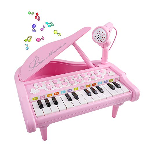 M SANMERSEN Piano for Kids, Music Pianos Keyboards for 3-6 Year Old Girls Mini Electronic Piano with Microphone 24 Keys Musical Keyboard Toys Pink