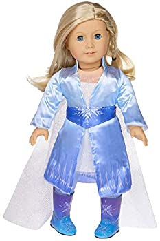 ebuddy Frozen Inspired Princess Costumes Snowflake Queen Doll Dress for 18 Inch American Girl Doll