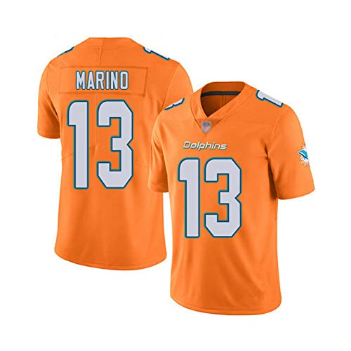 Rugby-Trikot Dan Marino # 13 Miami Dolphins American-Football-Trikot, Unisex Sports Kurzarm-Sweatshirt Fitness Atmungsaktive Stickerei Wiederholbare Reinigung Bestes Geschenk-orange-3XL(195cm~210cm)