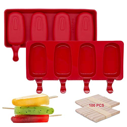 IMISUTD Cakesicle Mold Silicone Popsicle Molds for Kids Mini 2 Pack 4 Cavities Homemade Ice Pop Mold with 100 Popsicle Sticks Cake Pop Molds for DIY Ice Cream Cakesicle Red Oval