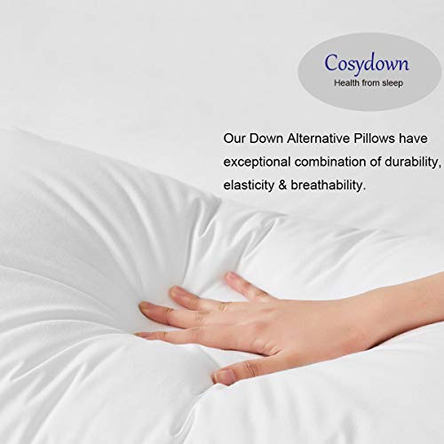Cosydown Goose Down Alternative Pillows (2 Pack,Queen Soft) 100% Egyptian Cotton with Microfiber Filling Sleep Pillow,Washable,Hypoallergenic (Set of 2)