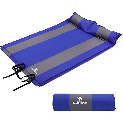 CAMEL CROWN Doppelt-selbstaufblasende Isomatte Schlafmatte mit 2 Kissen Luftmatratze Aufblasbare Isomatte Für 2 Personen Camping Outdoor
