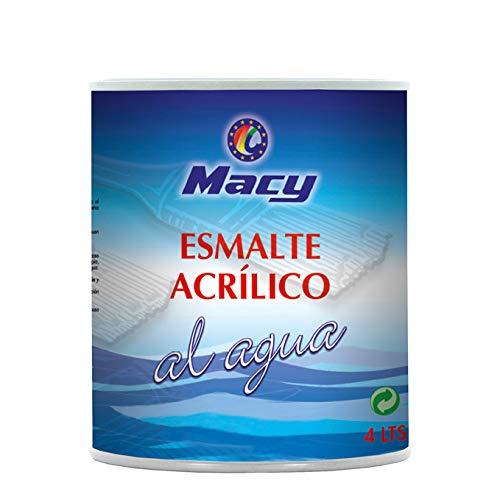 Esmalte Agua Satinado Multisuperficies Macy para Interior y Exterior. 4 Litros. Color Blanco