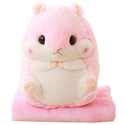 YunNasi 2 in 1 gefüllt Fat Hamster mit Plüsch Kissen und warm Bezug für Decke und Kinder rose