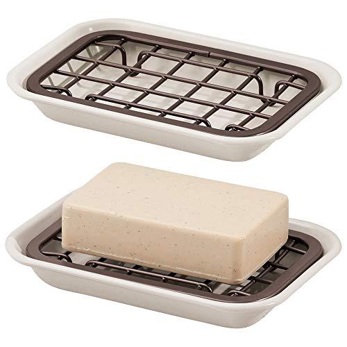 mDesign Juego de 2 jaboneras para baño para el lavabo o el fregadero – Estante para jabón, esponjas o estropajos con rejilla de drenaje – Compacto jabonero de ducha en metal – crema y bronce