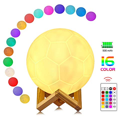 anaoo Lampada Notturne calcio 3D 16CM 16 Colori con Sensore Tocco Ricaricabile Telecomando RGB Luce Notturna Supporto in legno [Classe di efficienza energetica A]