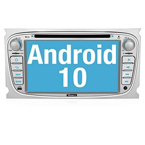 Vanku Android 10 Autoradio für Ford Radio mit Navi Unterstützt Qualcomm Bluetooth 5.0 DAB + CD DVD WiFi 4G Android Auto 2 Din 7 Zoll Silber