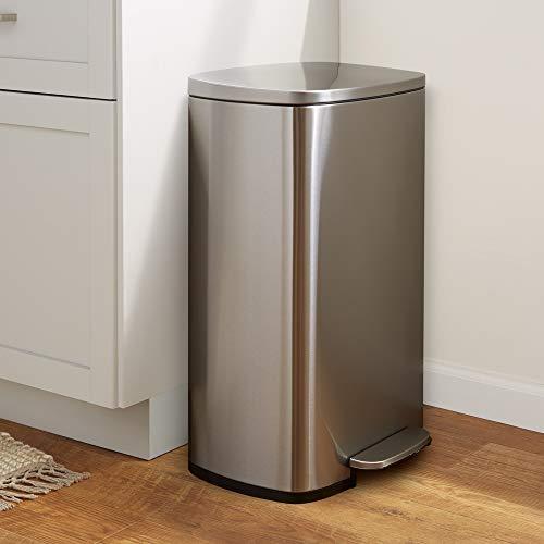 AmazonBasics Rectanglular, Stainless Steel, Soft-Close, Step Trash Can, 50 Liter /13.2 Gallon, Satin Nickel