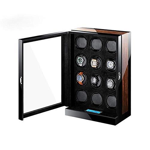 GUOOK Caja Almacenamiento Madera Reloj AutomáTico 12 + 0 Relojes con Pantalla TáCtil LCD 12 EpíTopos