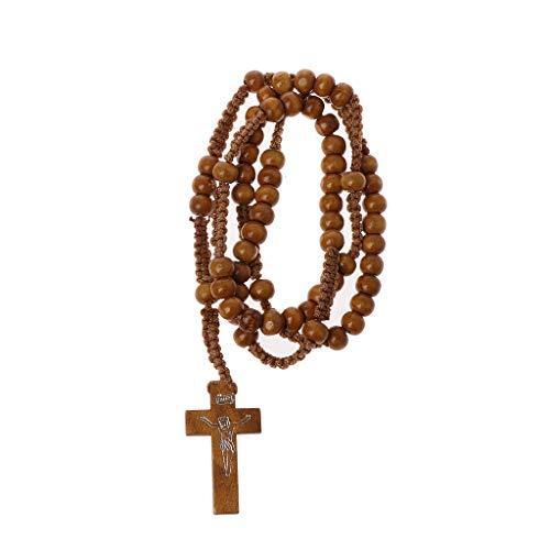 WOWOWO Collares de Rosario de Cuentas de Madera con la impresión de Jesús Cruz Joyería Religiosa de Jesús