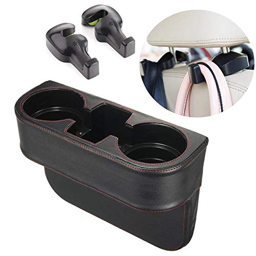 IPELY - Organizador para automóvil, organizador de consola de asiento delantero, soporte para bebidas con 2 ganchos para reposacabezas de coche