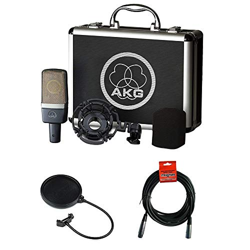 AKG C214 Large-Diaphragm Condenser Microphone with Pop Filter & 20