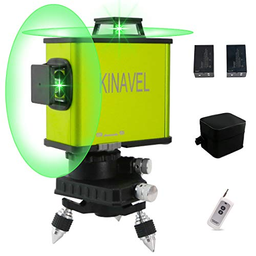 KINAVEL 2x360° Laser Level Rechargeable Self Leveling Laser Level Two Plane Cross Line Lasers 1x360° Vertical 1x360° Horizontal 8 Lines 2D, Remote Control + Two Li-Battery