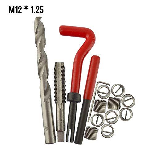 KKmoon 15 Stücke Gewinde Repair Set Werkzeug M12 Helicoil Reparatur Set M12 * 1.25