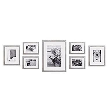 GALLERY PERFECT 7 Piece Greywash Photo Frame Wall Gallery Kit #17FW2315. Includes: Frames, Hanging Wall Template, Decorative Art Prints and Hanging Hardware