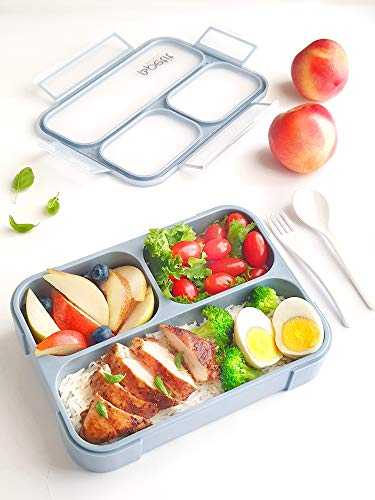 Petit Bento- 3 Compartment Lunch Boxes. Bento Box Lunchbox Snack Containers for Kids, Boys Girls Adults. School Daycare Meal Planning Portion Control Container. Leakproof BPA-Free (Dusty Blue, Large)