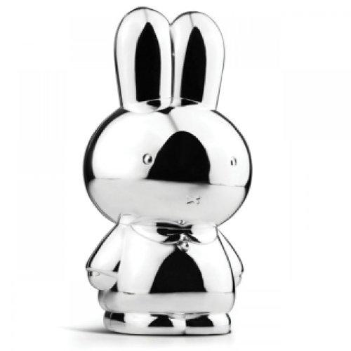 Spardose Miffy – versilbertes Sparschwein für Mädchen und Jungen – Glücksbringer Miffy Hase Nijntje – Taufgeschenke oder Geschenke zur Geburt